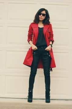 red trench coat outfit #casualoffice