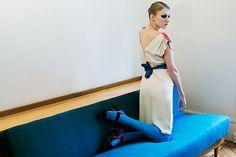Robe femme / minimaliste / graphique / robe esprit vintage / pièce créateur / sportchic / robe en soie / pièce unique / Les Créatures / Photo: © Amélie Chassary