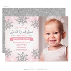 Pink and silver winter onederland girl first birthday party invitations. Cute design with silver glitter snowflakes.