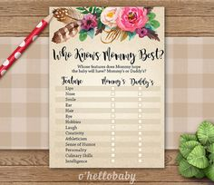 Who Knows Mommy Best Game  Floral Bohemian Theme by ohellobaby