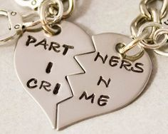 Partners in Crime Keychain - BFF Gift, Best Bitches Split Heart Key Chain - Hand Stamped Best Friend Keychains - Stainless Steel on Wanelo