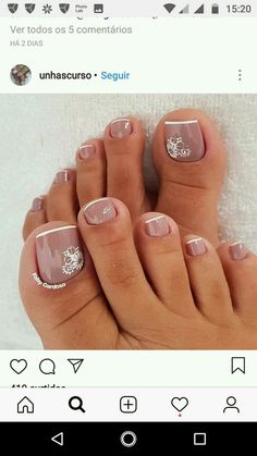 Trendy Nails Design Easy French Tips 16 Ideas Toe Nail Designs, Simple Nail Designs, Beautiful Nail Designs, Nails Design, Pedicure Nail Art, Manicure And Pedicure, Gel Nails, Toe Nail Color, Toe Nail Art