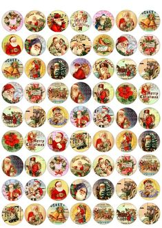"Christmas 63 1""round bottle cap vintage pictures scrap booking crafts    #Handmade"