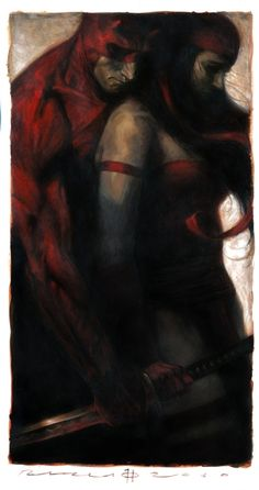Great Daredevil and Elektra Marvel Comics Art.