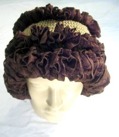 images of ruffled yarn hats | Ruffle hat , beanie, toque. Crocheted. The Crunchy Chocolate Crisps ...
