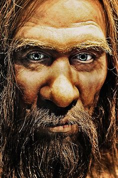 Wax figure of a Neanderthal in the 'Ascent of Man' exhibition at the Tokyo National Science Museum