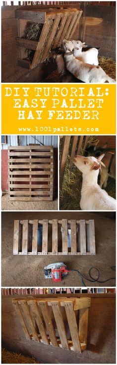 "#Animal, #Diy, #Feeder, #Garden, #Pdf, #RecyclingWoodPallets, #Tutorial    Elizabeth Ohiothoughts from the blog ""Ohiothoughts"" in collaboration with 1001Pallets will describe how to make an easy pallet hay feeder with one single repurposed wooden pallet and a price that will beat any commercial hay feeder.    	 1"