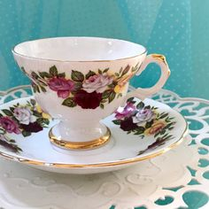 Vintage Tea Cup and Saucer Royal Imperial Summer Time Floral English Teacup Set, High Tea Birthday Friend Gift for Her