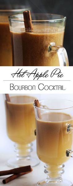 Hot Apple Pie Bourbon Cocktail |  This twist on hot buttered bourbon uses cider and butterscotch sauce to make the perfect thanksgiving or fall cocktail. @alittlebitbacon