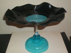 Vinyl Record LP Cupcake Stand and Cookie Tray Retro Vintage Stemware Serving Dish Blue