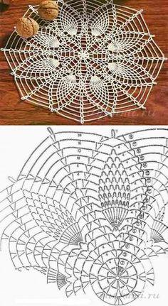 Crochet Doily Patterns with Diagrams Crochet Circles, Crochet Doily Patterns, Crochet Mandala, Crochet Motif, Crochet Designs, Crochet Flowers, Crochet Coaster, Crochet Lace, Filet Crochet