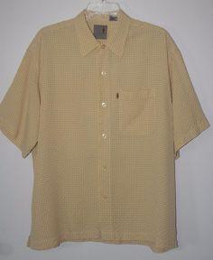 Pineapple Connection Short Sleeve Button Front Shirt Medium Yellow Checks M #PineappleConnection #Menswear