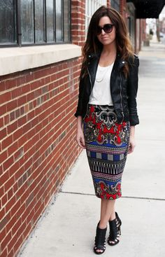 LOVE the simple tucked in t-shirt with the long tight pencil skirt and the rugged jacket
