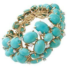 1950s Persian Turquoise and Diamond Bracelet - Fourtane