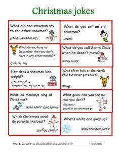Christmas jokes worksheet - Free ESL printable worksheets made by teachers Holiday Games, Christmas Party Games, Christmas Activities, Christmas Traditions, Holiday Fun, Xmas Games, Christmas Jokes For Kids, Christmas Worksheets, Christmas Printables
