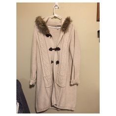Old Navy Long Sweater Coat Old Navy Long Sweater with faux fur and toggle fasteners. 55% cotton. Old Navy Sweaters Cardigans