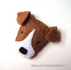 Felt Brooch Cute Dog Pin Jack Russell Terrier Badge by mikaart Jack Russell Terriers, Chien Jack Russel, Softies, Dog Crafts, Felt Crafts, Felt Dogs, Dog Ornaments, Dog Pin, Felt Decorations