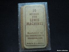 vintage TORRINGTON LEWIS MACHINES needles clear plastic box, paper sticker logo.