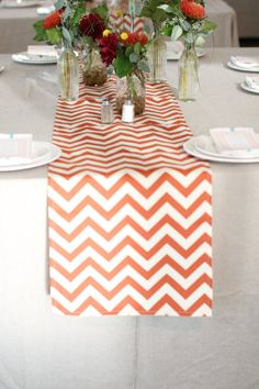 Chevron table runner on the kitchen table. Obsessed.