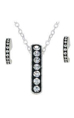 Montana Silversmiths® Silver with Black and Crystals Necklace & Earring Jewelry Set | Cavender's Boot City