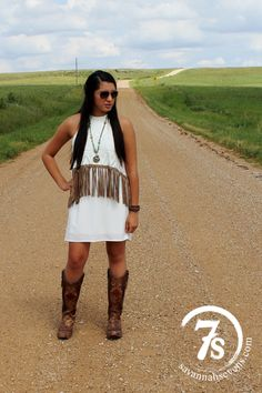The Gridley – suede fringe white dress from Savannah Sevens Western Chic