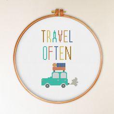 Travel Often cross stitch pattern modern cross by ThuHaDesign