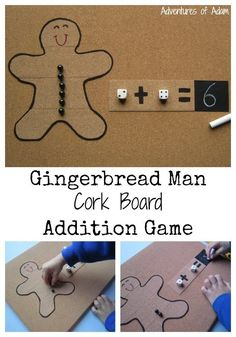 Gingerbread Man Addition Game. Hands on math activity working on simple addition and counting.