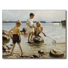 Albert Edelfelt - Children playing on the shore, 1884