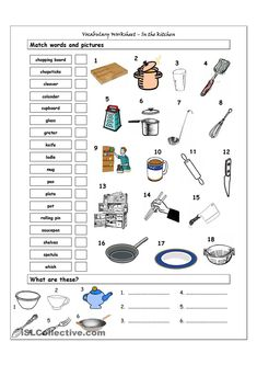 Vocabulary Matching Worksheet - In the kitchen