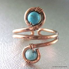 Adjustable Copper Turquoise Wire Wrap Finger Toe Ring #WireJewleryIdeas #diyrings
