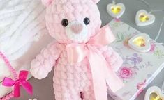 Get this free amigurumi teddy bear pattern at Amiguroom Toys. To crochet the plush bear you will need Himalaya Dolphin Baby yarn and mm crochet hook. Crochet Teddy Bear Pattern Free, Teddy Bear Patterns Free, Plush Pattern, Crochet Patterns, Free Pattern, Free Crochet, Crochet Animals, Crochet Toys, Bowtie Pattern