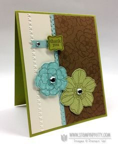 Secret Garden stamp set and Framelits in Lucky Limeade, Pool Party, Soft Suede and Very Vanilla - Mary Fish