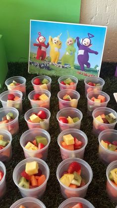 Fresh Fruit Cups & Teletubbies Cardboard Cut Out Centrepiece
