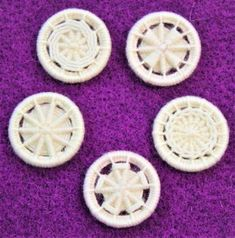 Dorset Button Kit Multiple Style Dorset Button Pack, Snow This kit contains Five fabulous Dorset Button patterns to try, perfect for exploring the Dorset Buttons, Making Ten, Wool Thread, Types Of Buttons, Arts And Crafts Movement, Button Crafts, Different Patterns, Cloth Bags, Make It Yourself