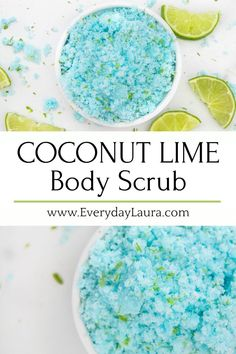 your skin summer ready with this fun coconut lime body scrub.Get your skin summer ready with this fun coconut lime body scrub. Best Body Scrub, Body Scrub Recipe, Sugar Scrub Recipe, Diy Body Scrub, Diy Scrub, Hand Scrub, Sugar Scrub Homemade, Homemade Skin Care, Diy Skin Care