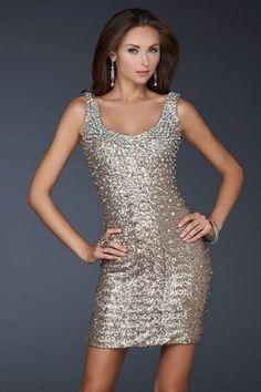 Bronze Sequin Glitter La Femme 17413 Prom Dresses [sequin over prom dress]