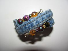 Memory wire denim seam bracelet - great upcycled fashion accessory