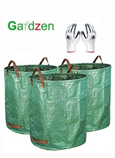 Gardzen 3Pack 72gallons Gardening Bag with Gloves  Reuseable Heavy Duty Gardening Bags Lawn Pool Garden Leaf Waste Bag ** Continue to the product at the image link. (This is an affiliate link) #GardeningandLawnCare