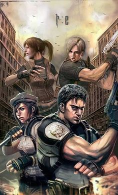 Resident evil, Chris, Clarie, Jill, and Leon