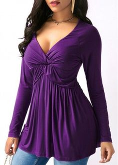 V Neck Purple Long Sleeve T Shirt on sale only US$29.69 now, buy cheap V Neck Purple Long Sleeve T Shirt at liligal.com