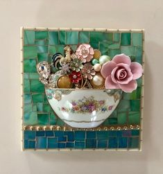Series Of Half Cups - Delphi Artist Gallery Mosaic Crafts, Mosaic Projects, Mosaic Ideas, Stained Glass Art, Mosaic Glass, Teacup Crafts, Jewelry Wall, Jewelry Storage, Diy Jewelry
