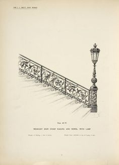 Wrought iron stair stoop railing and newel, with lamp. [Plate 407-N]. From New York Public Library Digital Collections.