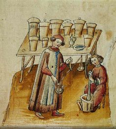 """1400s Apothecary shops were illustrated in manuscripts. From Tacuinum Sanitatis (https://pinterest.com/pin/287386019942605156/), a medical codex, written and illuminated for the Cerruti Family, probably from Verona William Turner (?1508–7 to 1568) was an English naturalist, botanist, & theologian who studied at Cambridge University & eventually became known as the """"father of English botany."""" ◙"""