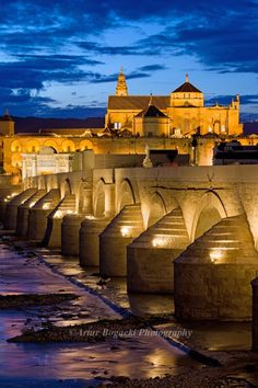 Roman Bridge on Guadalquivir river and The Great Mosque (Mezquita Cathedral) at twilight in the city of Cordoba, Andalusia, Spain. The Places Youll Go, Great Places, Places To See, Beautiful Places, Malaga, Cordoba Andalucia, Andalusia Spain, Places To Travel, Andalusia