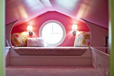 Pink Attic Playroom - great use of a low-ceiling space.