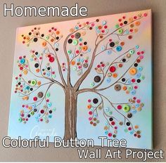 Homemade Colorful Button Tree Wall Art Project Homesteading  - The Homestead Survival .Com