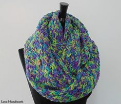 You are looking at ONE Unique, One of a Kind, Loose Knit Infinity Scarf. This one is made of acrylic worsted medium multicolour (apple, purple, jade) yarn. + Approximately wide x circu Gifts For Wife, Gifts For Her, Handmade Scarves, Cowl Scarf, Jade, Infinity, Knitting, Purple, Paintings