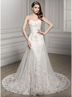 3ad8b4f8daaa Trumpet/Mermaid Sweetheart Cathedral Train Tulle Lace Wedding Dress With  Ruffle Beading Sequins 2015 Brudklänningar