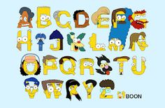 An alphabet by Mike Boon featuring the cast of The Simpsons, in which A is for Apu, B is for Bart, and C is for C. Montgomery Burns. Prints and more available through the source.