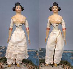 "Regal Late Georgian 11"" Apollo Knot Papier Mache Lady C. 1829-1840~All from kathylibratysantiques on Ruby Lane"